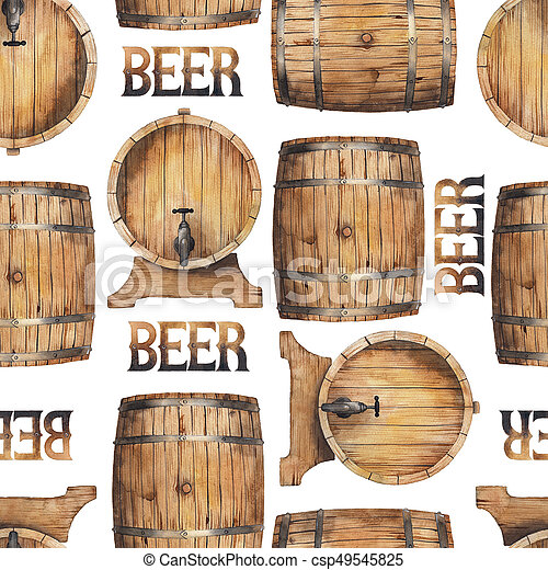 Watercolor barrels of beer - csp49545825