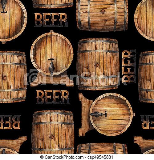 Watercolor barrels of beer - csp49545831