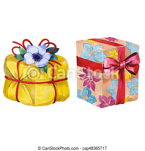 Watercolor Birthday Gift Box Illustration Wrapped Gift Boxes With A Ribbon