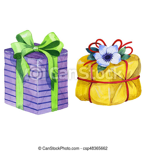 Watercolor Birthday Gift Box Illustration Wrapped Gift Boxes With A