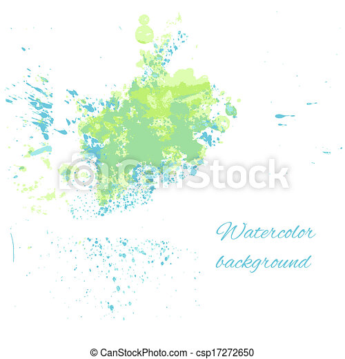 Watercolor blue-green background for your design - csp17272650