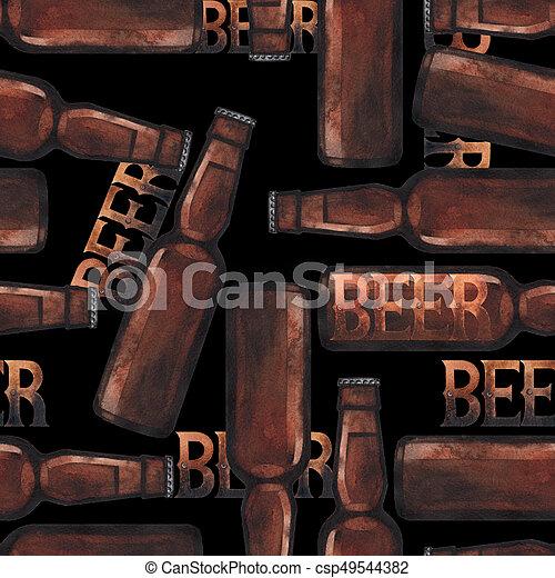 Watercolor bottle of beer - csp49544382