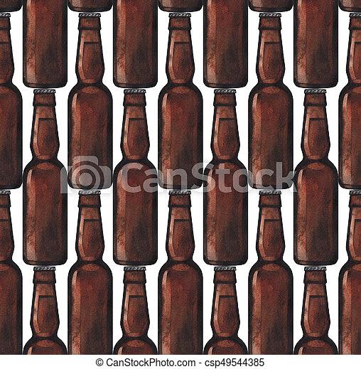 Watercolor bottle of beer - csp49544385