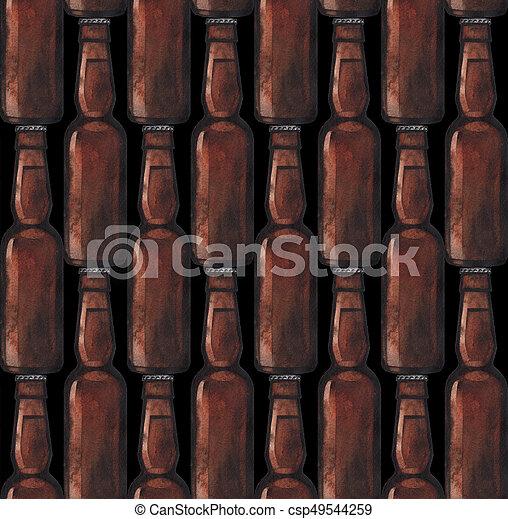 Watercolor bottle of beer - csp49544259