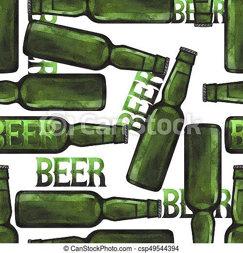 Watercolor bottle of beer - csp49544394