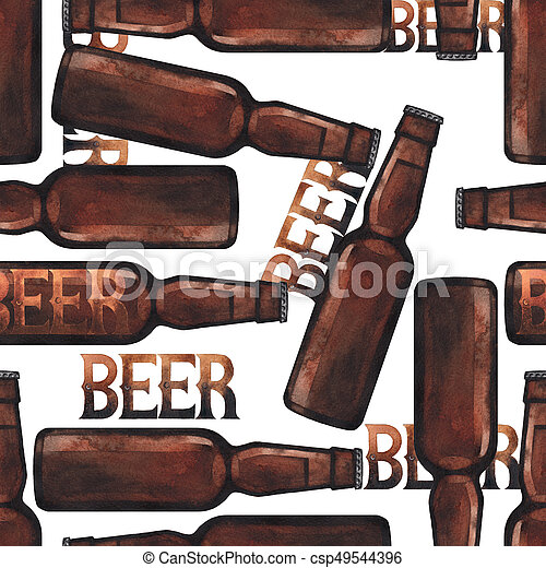 Watercolor bottle of beer - csp49544396