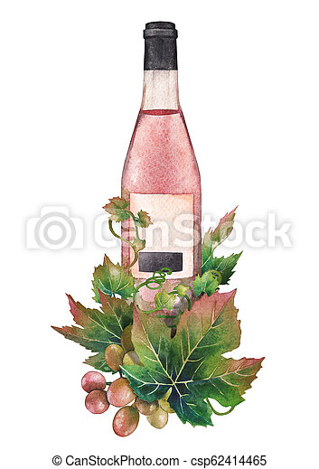 Watercolor bottle of rose wine decorated with grape leaves and berries - csp62414465