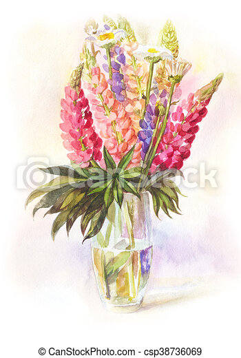 watercolor bouquet of lupines in a glass vase handdrawn
