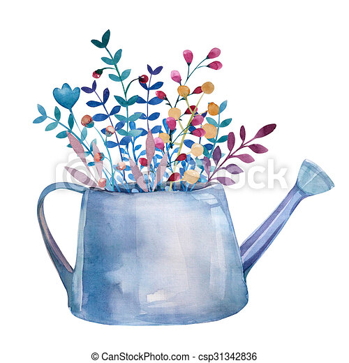 Watercolor Bouquets Of Flowers In Pot Rustic Floral Set