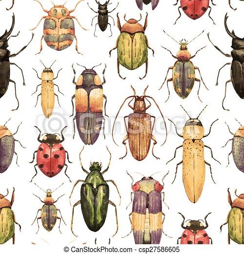 Watercolor bug beetle pattern - csp27586605