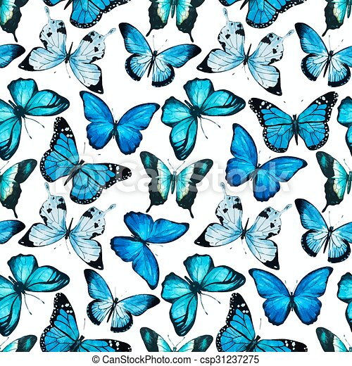 Watercolor Butterfly Pattern Vector Beautiful Vector Pattern With Gorgeous Butterfly Pattern
