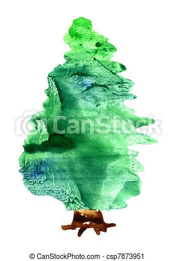 Watercolor Christmas tree - csp7873951