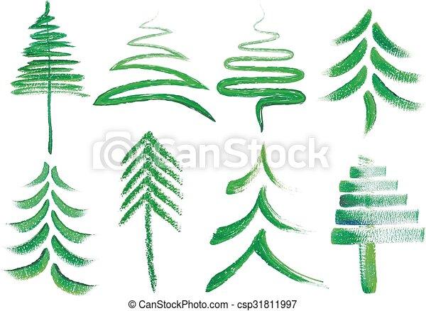 Watercolor Christmas trees, vector - csp31811997