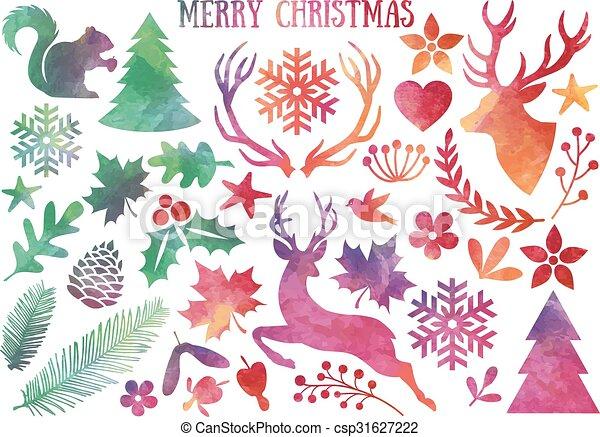 Watercolor Christmas, vector set - csp31627222