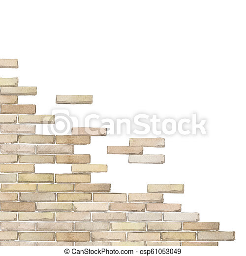 Watercolor Corner Of The Brick Wall Isolated On White Background