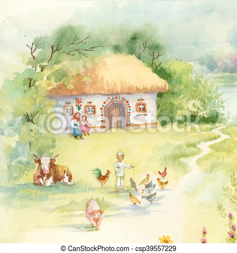 Watercolor countryside landscape with little boy feeding farm animals. - csp39557229