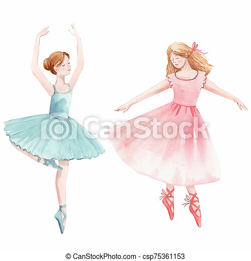 Watercolor Cute Dancing Girls Ballet Nutcracker Ballerina Clip Art Isolated Illustrations Watercolor Hand Drawn Cute Dancing