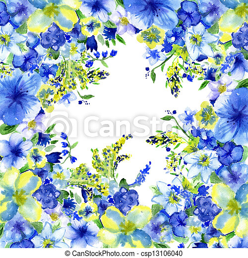 Watercolor dark blue and yellow flowers on a white background watercolor dark blue and yellow flowers on a white background csp13106040 mightylinksfo