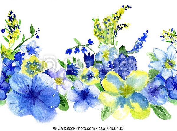 Watercolor dark blue and yellow flowers on a white background watercolor dark blue and yellow flowers on a white background csp10468435 mightylinksfo