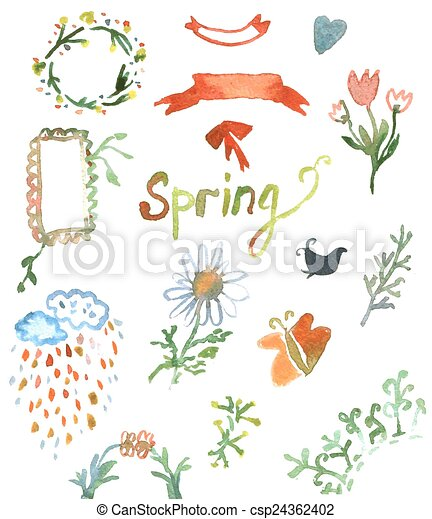 Watercolor Design Elements For Spring