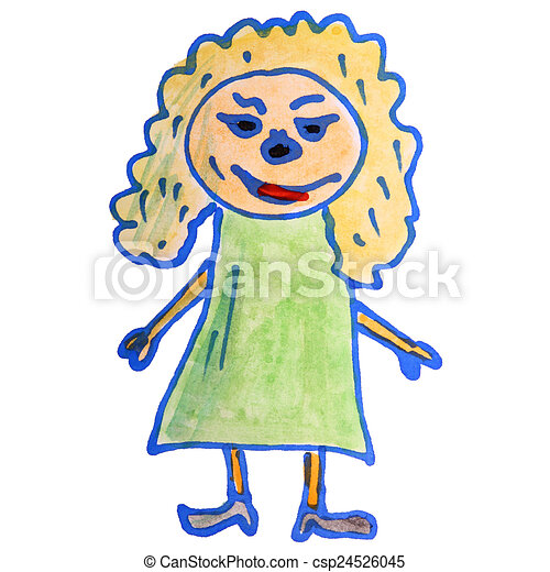 Watercolor Drawing Kids Cartoon Girl On White Background Watercolor
