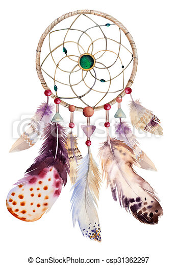 Watercolor dreamcatcher with beads and feathers. Illustration fo - csp31362297