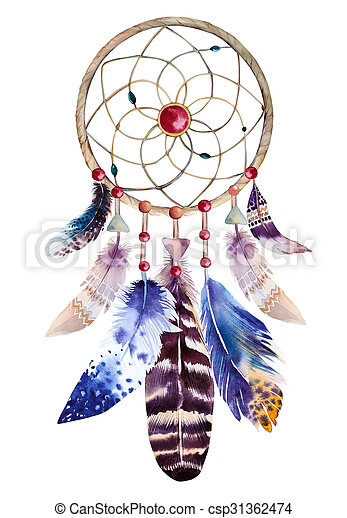 Watercolor Dreamcatcher With Beads And Feathers Illustration For Beauteous Water Color Dream Catcher