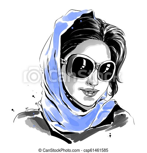 dd59ff0be8 Watercolor fashion illustration of woman in sunglasses and blue scarf -  csp61461585
