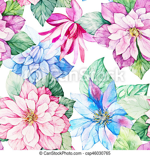 Watercolor Floral Botanical Seamless Pattern Good For Printing