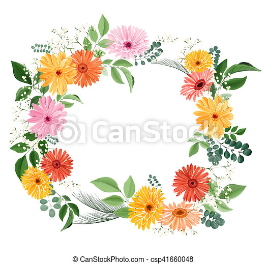 Watercolor Floral Bouquet With Gerberas And Leaves