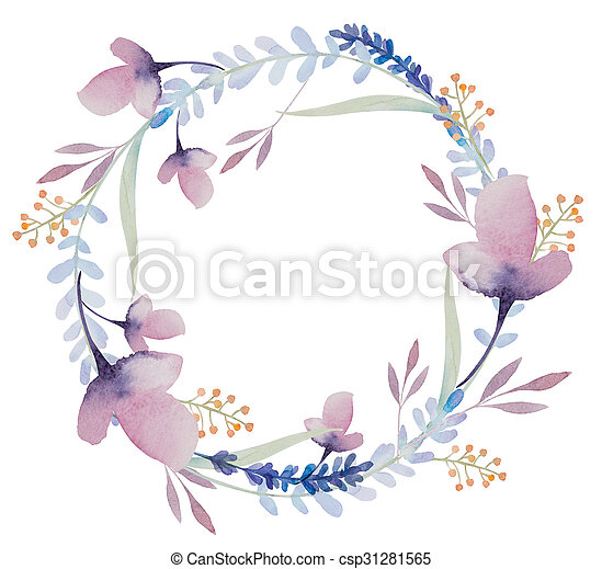 Watercolor Floral Frame Flowers In Wreath Watercolor Background