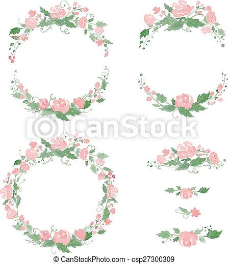 Watercolor floral frames, wreath, dividers. vector illustration ...