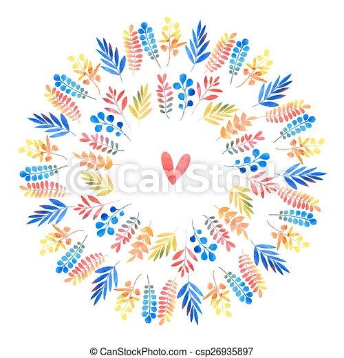 watercolor floral ornament - csp26935897