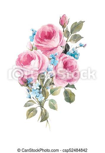 Watercolor Floral Vector Composition
