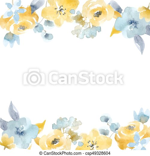 Watercolor Floral Vector Frame