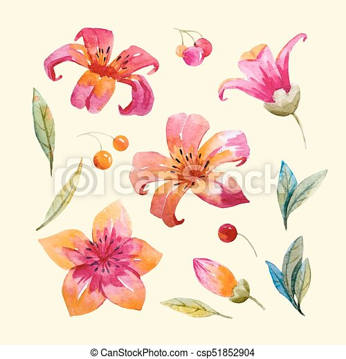 Watercolor Floral Vector Set
