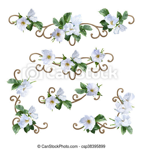 Watercolor Flower Border Decorative Painting With