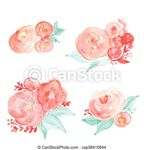 Watercolor Flower Bouquet Vector Floral Set On The White Background