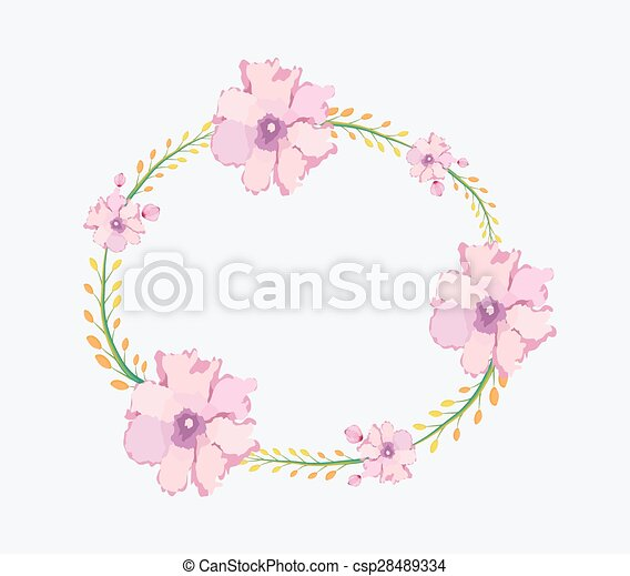 Watercolor flowers frame template vectors - Search Clip Art ...