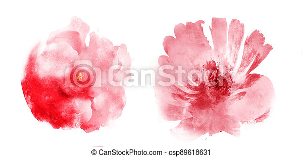 Watercolor flowers , isolated on white background - csp89618631