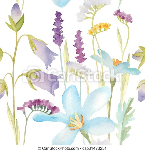 Watercolor flowers pattern. - csp31473251