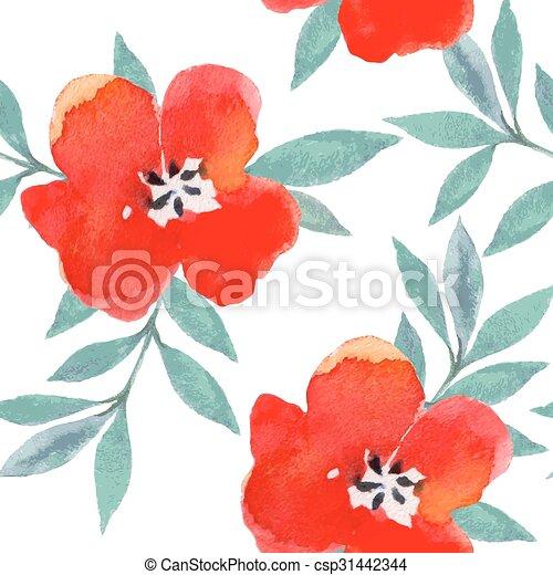 Watercolor flowers pattern. - csp31442344