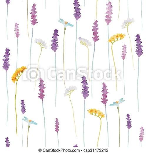 Watercolor flowers pattern. - csp31473242