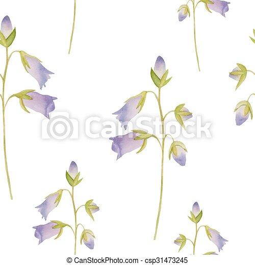 Watercolor flowers pattern. - csp31473245