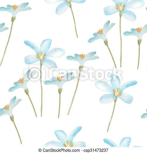 Watercolor flowers pattern. - csp31473237