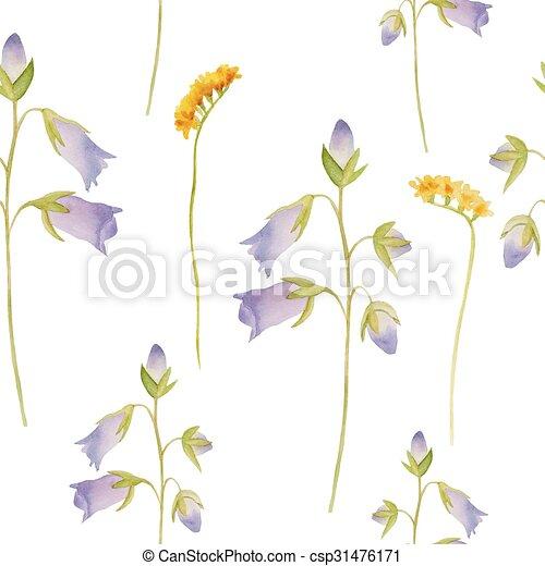 Watercolor flowers pattern. - csp31476171