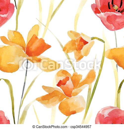 Watercolor flowers seamless pattern. - csp34544957