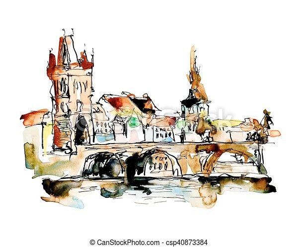 watercolor freehand sketch drawing of Prague Czech Republic top - csp40873384