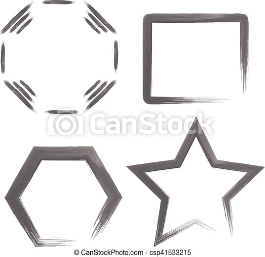 Set with watercolor geometric shapes or frames. watercolour ...