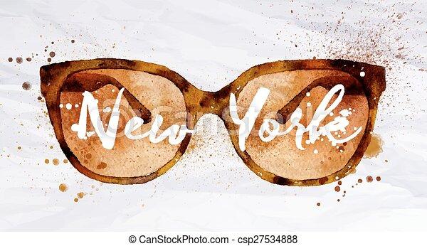 39d0ea42f55 Watercolor glasses new york. Watercolor vintage glasses new york ...
